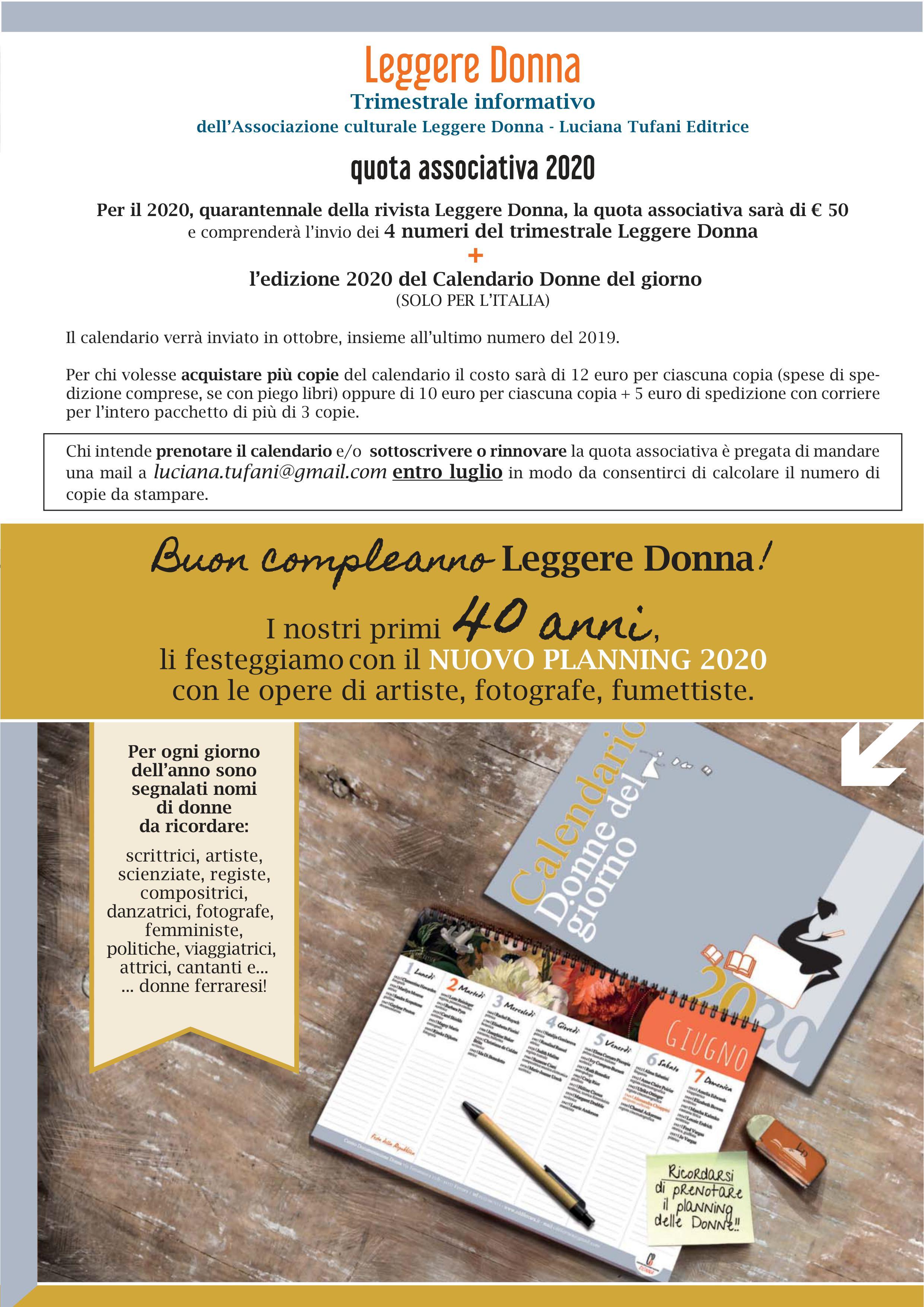 Calendario 2020 Donne.I Nostri Primi 40 Anni Associazione Culturale Leggere